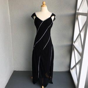LAPIS Uneven Black Silk Dress Size M
